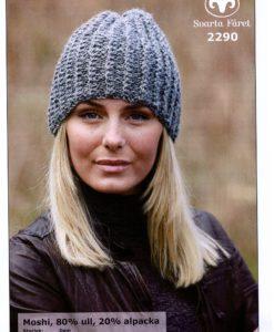 Mössa Moshi 80% ull 20% alpacka 2290 Sorlek: Dam Garnåtgång 1   n.fg 1 (ljusgrå 03)) 1   n.fg 2 (mörkgrå 09)) Stickor:     Svarta Fåret 5 mm