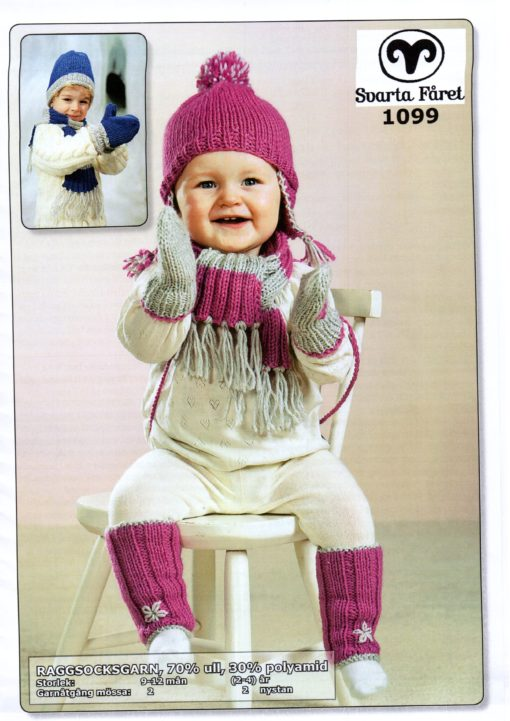Svarta Fåret Raggsocksgarn Baby Halsduk, Mössa Vantar ,Benvärmare 1099094