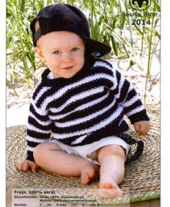 Babytröja Freja - 2014 100%Akryl Garntorget Storlek :           3      (6)   9 mån   (1)  2  (4)  år Bröstvidd :         49     (53)  58      (62) 66 (70) cm Hel längd :        25     (27)  29      (32) 37 (43) cm Ärmlängd :        15     (17)  19      (21) 24 (27) cm Garnåtgång:        2       (2)   2      (3)  3  (4)  n.fg 1 (marinblå) Garnåtgång:        1       (2)   2      (2)  3  (3)  n.fg 2 (vit 04) Stickor:            Svarta Fåret: 3,5 och 4 mm Rundsticka:        Svarta Fåret: 3,5 mm, 40 cm
