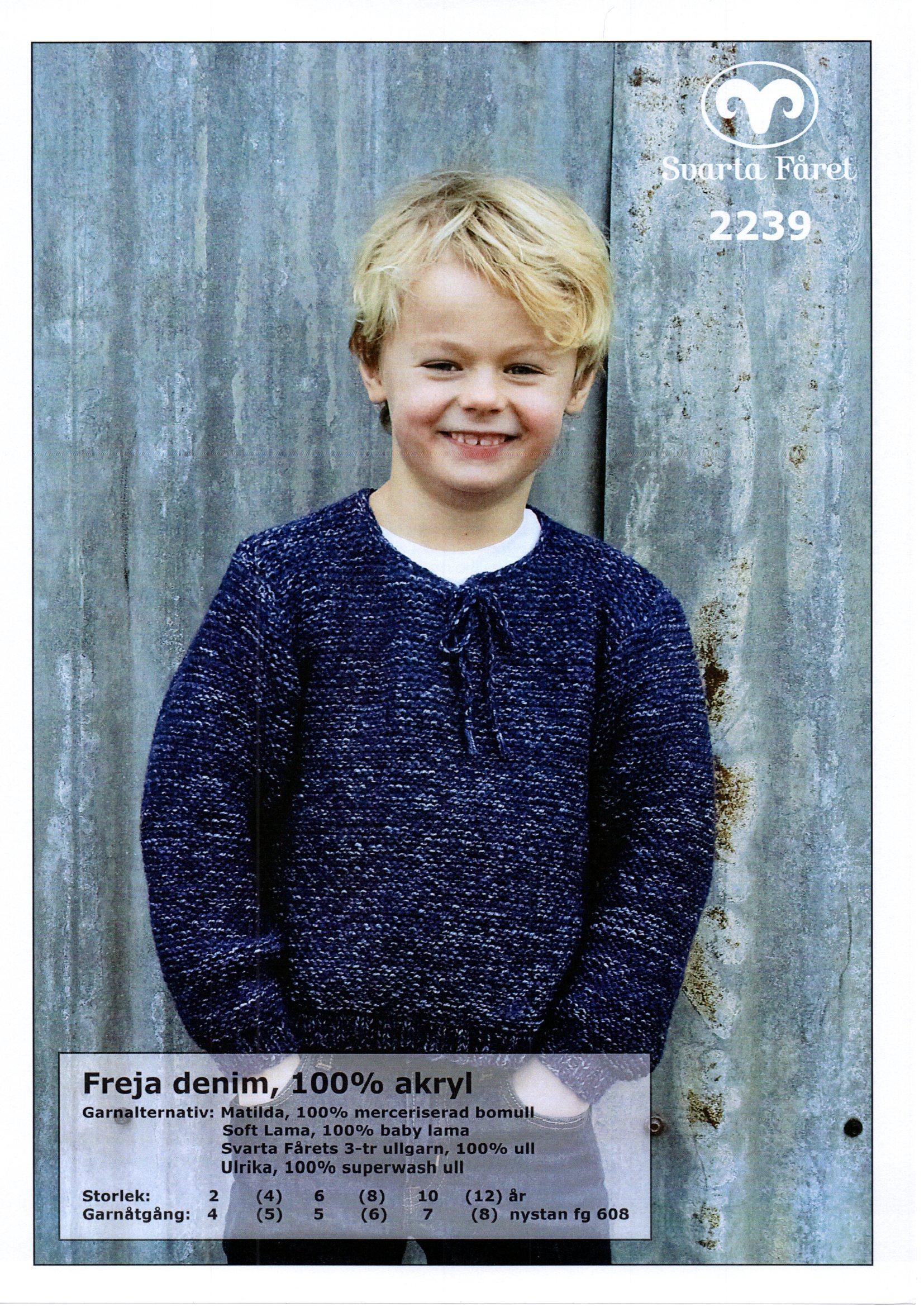 Svarta Fåret,Freja,100%Akryl Barn, Rätstickad Barntröja 2239