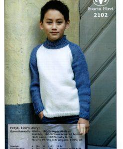 Barntröja med raglan resåstickad fläta - 2102 Svarta Fåret,Freja,100%Akryl Storlek :           4      (6)   8   (10)  12 år
