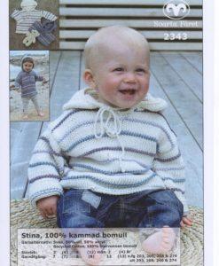 Baby/Barntröja med Huva Stina 8/8 - 2343 DD Svarta Fåret. Det är ett användbart garn i många färger. Tjockleken är samma som Freja, så där kan man välja om man vill sticka sitt mönster i ull eller akryl. Härligt garn till, Mössa, Vantar, Kofta Pippitröja, Baby/Barntröja, Mössa, Sockor och Barnjacka m.m. Stick, Virkmönster, Disktrasa, Grytlapp, Babyfilt, Virkad Katt, Virkad Hund, Kudde. Baby/Barntröja med Huva. Storlek:            3   (6)  9  (12) mån 2 (4)  år Plaggets mått: Bröstvidd:          49  (54) 58 (60)     64 (68) cm Hel längd:           26  (28) 30 (33)     38 (43) cm Garnåtgång:         4    (4)  5  (5)      6  (7)  n.fg 1 (274 grön/205 oblekt) Garnåtgång:         1    (1)  1  (1)      2  (2)  n.fg 2 (240 rosa/274 grön) Garnåtgång:         1    (1)  1  (1)      2  (2)  n.fg 3 (208 grå/203 ljusgrå) Garnåtgång:         1    (1)  1  (1)      2  (2)  n.fg 4 (203 ljusgrå/208 grå) Garnåtgång:         2    (2)  2  (2)   3 n.fg 2 (vit 04) Stickor;             Svarta Fåret 4,5 mm och 5 mm Rundsticka;          Svarta Fåret 4,5 mm och 5 mm, 60 cm