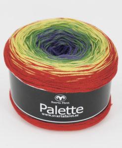 """Palette Regnbågsmelerad 09 Garntorget. Garntorget Nyhet Palette är i sk muffins och finns hemma i sex fina färger. 06 mörk regnbåge, 07 blåmelerad, 08 turkosmelerad,10 gul/grön/rosa, 11 rosa/aprikos. Fint till sjalar, ponchos och filtar. 50% bomull 50% akryl. 150 g=600 m. Ett nytt läckert """"kakgarn"""" passar perfekt till våren och sommarens arbeten såsom sjalar filtar med mera. Du får mycket garn för pengarna, 600 meter per nystan."""