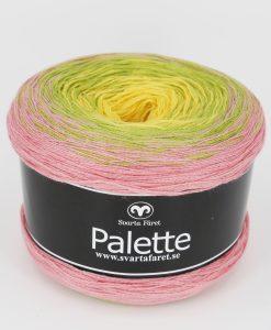 """Palette Gul/Grön/rosa 10 Garntorget Garntorget Nyhet Palette är i sk muffins och finns hemma i sex fina färger, 06 mörk regnbåge, 07 blåmelerad, 08 turkosmelerad,10 gul/grön/rosa, 11 rosa/aprikos. Fint till sjalar, ponchos och filtar. 50% bomull 50% akryl. 150 g=600 m. Ett nytt läckert """"kakgarn"""" passar perfekt till våren och sommarens arbeten såsom sjalar filtar med mera. Du får mycket garn för pengarna, 600 meter per nystan."""