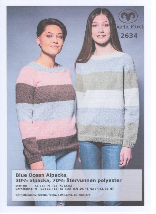 Svarta Fåret Blue Ocean Cotton, 30% Bomull 70% Återvunnen Polyester Randig Damtröja 2634409