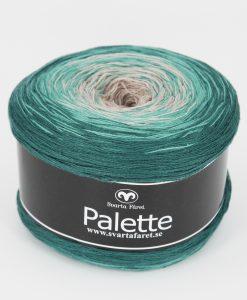 """Palette Turkosmelerad 08 Garntorget. Garntorget Nyhet Palette är i sk muffins och finns hemma i sex fina färger. 06 mörk regnbåge, 07 blåmelerad, 08 turkosmelerad,10 gul/grön/rosa, 11 rosa/aprikos. Fint till sjalar, ponchos och filtar. 50% bomull 50% akryl. 150 g=600 m. Ett nytt läckert """"kakgarn"""" passar perfekt till våren och sommarens arbeten såsom sjalar filtar med mera. Du får mycket garn för pengarna, 600 meter per nystan."""