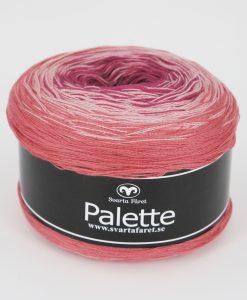 """Palette Rosa/Aprikos 11 Garntorget. Garntorget Nyhet Palette är i sk muffins och finns hemma i sex fina färger. 06 mörk regnbåge 07 blåmelerad 08 turkosmelerad10 gul/grön/rosa11 rosa/aprikos. Fint till sjalar, ponchos och filtar. 50% bomull 50% akryl. 150 g=600 m. Ett nytt läckert """"kakgarn"""" passar perfekt till våren och sommarens arbeten såsom sjalar filtar med mera. Du får mycket garn för pengarna, 600 meter per nystan."""