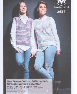 Blue Ocean Cotton, Aqua Mönsterstickad Damväst - 2637 - Garntorget