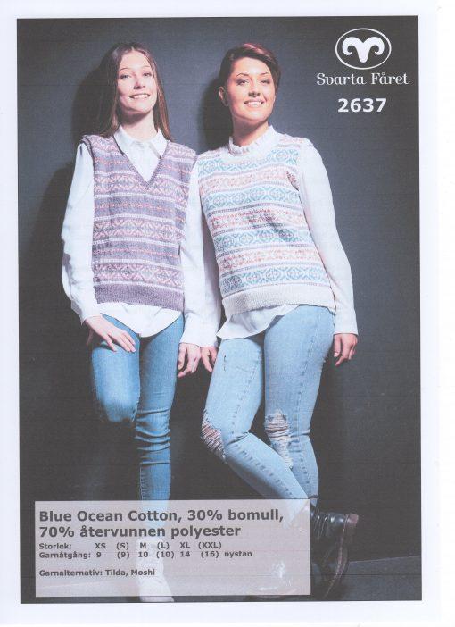 Svarta Fåret Blue Ocean Cotton, 30% Bomull 70% Återvunnen Polyester , Mönsterstickad Damväst 2637403