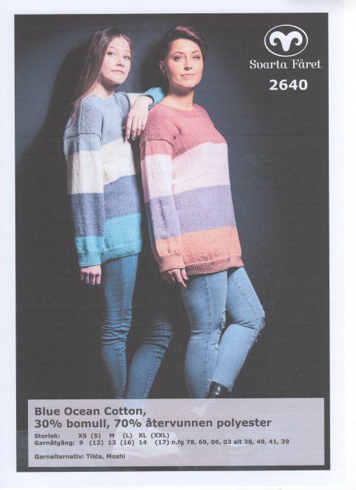 Svarta Fåret Blue Ocean Cotton, 30% Bomull 70% Återvunnen Polyester , Randig Damtröja 2640406