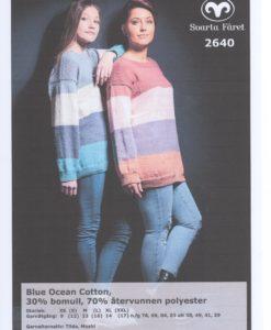 Blue Ocean Cotton Randig Damtröja
