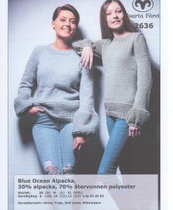 Strukturstickad Damtröja med Puffärm blue ocean alpacka 70% återvinnen polyester, 30% bomull.