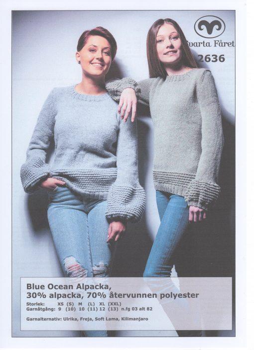 Svarta Fåret Blue Ocean Cotton, 30% Bomull 70% Återvunnen Polyester Strukturstickad Damtröja med puffärm 2636407
