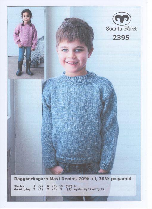 Raggsocksgarn Maxi Denim Barntröja 70% ull 30% polyamid Svarta Fåret Garntorget 2395419