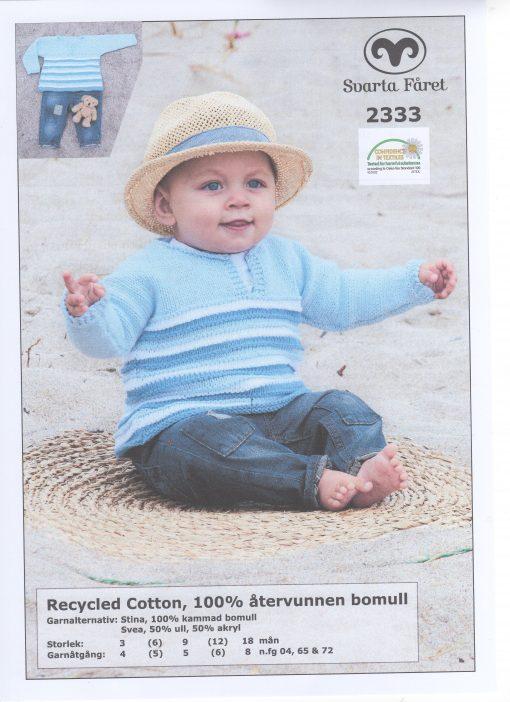 Recycled Cotton 100% återvunnen bomull babytröja i ett stycke Svarta Fåret Garntorget 2333427