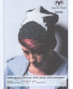 Dammössa Reflexgarn - 2642 Garntorget 50% ull 33% akryl 15% polyester. Storlek: Mössa: 6-8 (10-12) år Vuxen Garnåtgång: 2 (2) 2 n.fg 01 (svart) Garnåtgång: 1 (1) 1 n.fg 05 (vit) Stickor: Svarta Fåret 5,5 och 6mm