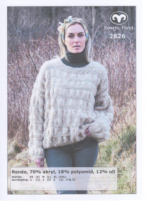 Renee 70% akryl 18% polyamid 12% ull Dam Bubbelstickad tröja Svarta Fåret Garntorget 2626436