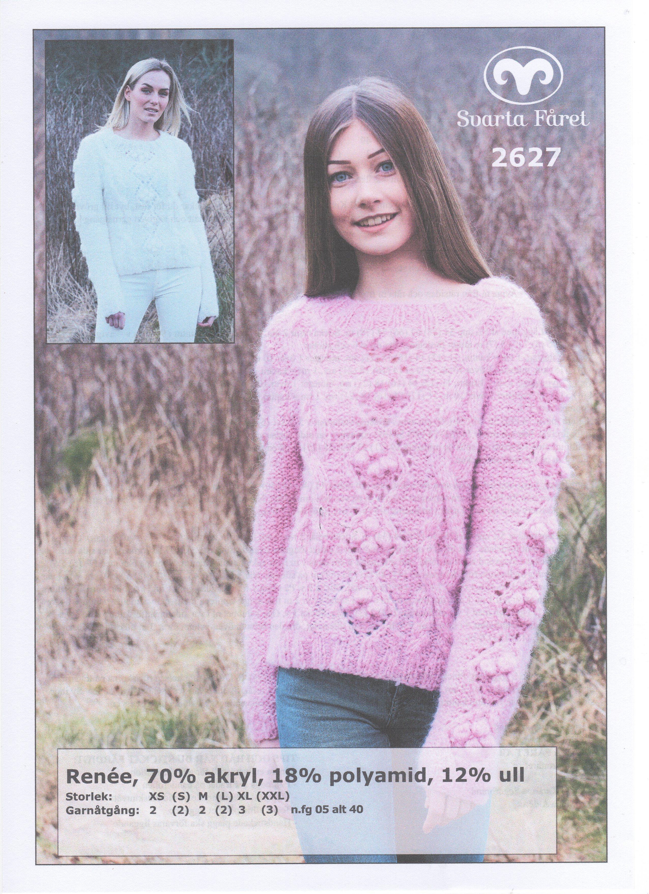 Renee Flät och spetsmönstrad tröja 2627 Garntorget Garntorget