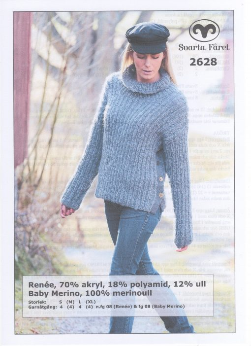 Renee 70% akryl 18% polyamid 12% ull Dam vid tröja med knappslå i sidorna Svarta Fåret Garntorget 2628438