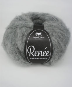 Renee Grå 08 Garntorget Renée från Svarta Fåret är ett riktigt mjukt och fluffigt garn som passar till stora, härliga tröjor och accessoarer. Finns i fyra trendiga färger. Nystan: 200 g = Ca 590 m. Kvalité: 70% akryl, 18% polyamid och 12% ull. Stickfasthet: 12m/18v=10 cm. Rekommenderade stickor: 6 mm.Tvättråd: 30 grader. Sticka Hålmönstrad Tröja, Patentstickad Raglantröja, Bubbelstickad Tröja Flä och Spetsmönstrad tröja Tröja.