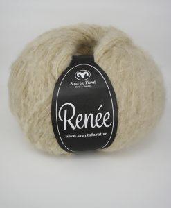 Renee Beige 22 Garntorget Renée från Svarta Fåret är ett riktigt mjukt och fluffigt garn som passar till stora, härliga tröjor och accessoarer. Finns i fyra trendiga färger. Nystan: 200 g = Ca 590 m. Kvalité: 70% akryl, 18% polyamid och 12% ull. Stickfasthet: 12m/18v=10 cm. Rekommenderade stickor: 6 mm.Tvättråd: 30 grader. Sticka Hålmönstrad Tröja, Patentstickad Raglantröja, Bubbelstickad Tröja Flä och Spetsmönstrad tröja Tröja.