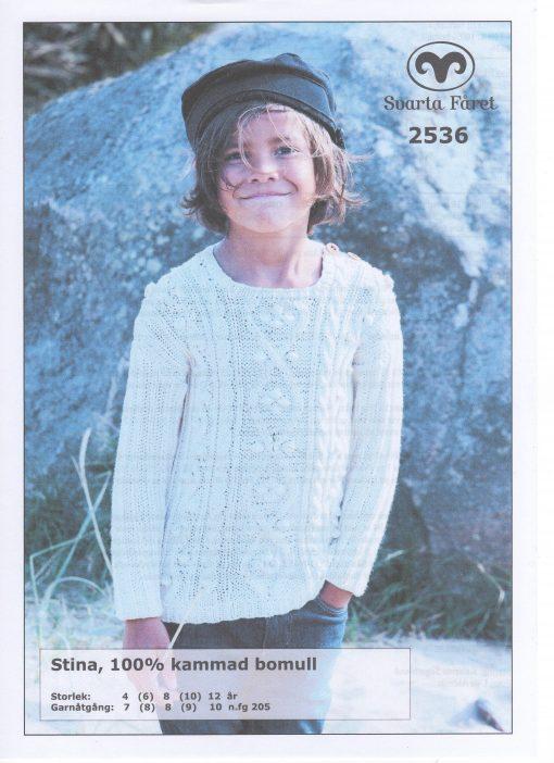 Stina 100% kammad bomull Flätstickad Barntröja Svarta Fåret Garntorget 2536468