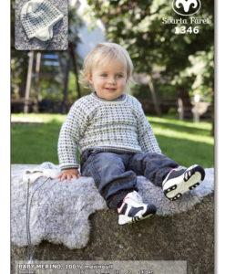 Babytröja och mössa BABY MERINO, 100% merinoull 1346 Storlek: 3 (6) 9 mån (1) 2 (4) år Plaggets mått, Bröstvidd: 48 (51) 53 (57) 62 (65) cm Hel längd: 25 (27) 29 (32) 36 (42) cm Ärmlängd: 15 (17) 19 (21) 24 (27) cm Huv.omkr: 37 (41) 44 (47) 49/50 (51/52)cm (pers mått) Garnåtgång, Tröja: 2 (3) 4 (5) 6 (7) n.fg 1 (natur 05) 2 (2) 2 (3) 3 (4) n.fg 2 (mörkgrå 08) Mössa: 1 (1) 1 (2) 2 (2) n.fg 1 1 (1) 1 (1) 1 (1) n.fg 2 Stickor: Svarta Fåret 2½ och 3 mm. Strumpstickor: Svarta Fåret 2½ och 3 mm till mössa Tillbehör: Tröja: 3 knappar